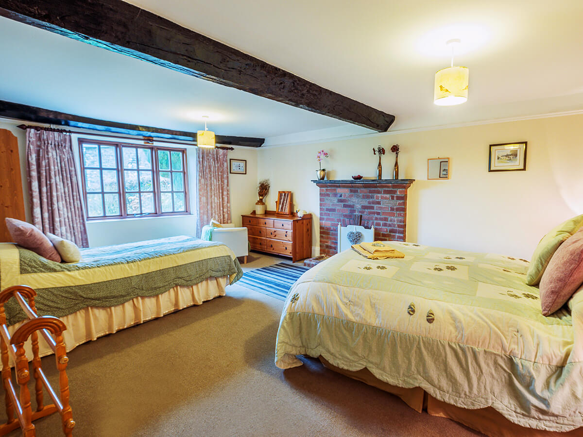 Ground floor bedroom with Exmoor views